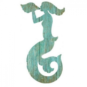 Mermaid Silhouette Facing Left Wall Art - Aqua