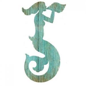 Mermaid Silhouette Facing Right Wall Art - Aqua