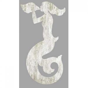 Mermaid Silhouette Facing Left Wall Art - White