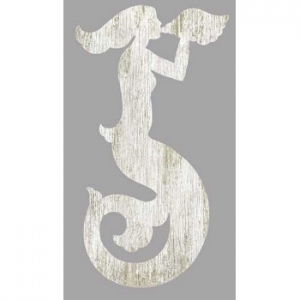 Mermaid Silhouette Facing Right Wall Art - White