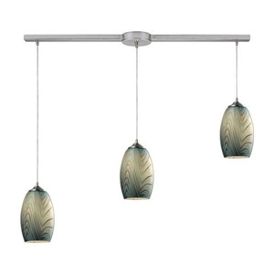 Tidewaters 3 Light Pendant In Satin Nickel And Seafoam Glass