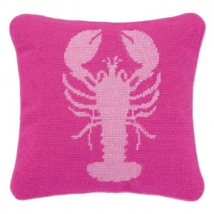Lobster Pink Needlepoint Pillow