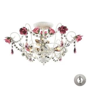 Rosavita 3 Light Semi Flush In Antique White And Pink - Includes Recessed Lighting Kit