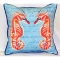 Coral Seahorses Blue Indoor Outdoor Pillow