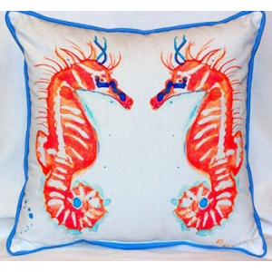 Coral Seahorses Outdoor Indoor Pillow