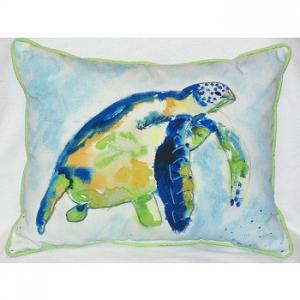 Blue Sea Turtle Indoor Outdoor Pillow