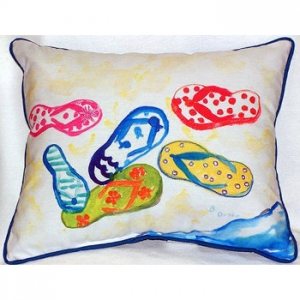Six Flip Flops Indoor Outdoor Pillow