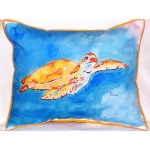 Brown Sea Turtle Indoor Outdoor Pillow