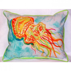 Orange Jelly Fish Large Indoor Outdoor Pillow