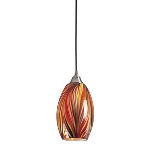 Mulinello 1 Light Led Pendant In Satin Nickel And Multicolor Glass