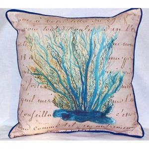Blue Coral Beige  Indoor Outdoor Pillow