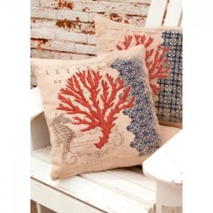 Coral Coastal Seahorse Pillow