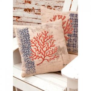Coral Coastal Palm Tree Pillow