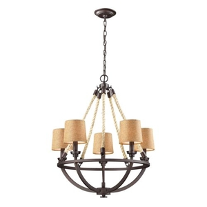 Natural Rope 5 Light Chandelier In Aged Bronze