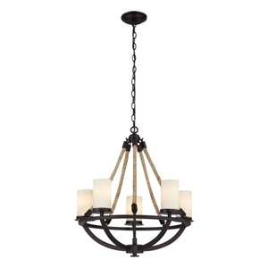 Natural Rope 5 Light Chandelier In Aged Bronze And White Glass