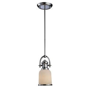 Brooksdale 1 Light Mini Pendant In Polished Chrome And White Glass