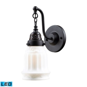 Quinton Parlor 1 Light Led Sconce In Oiled Bronze And White Glass