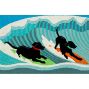 Surfing Dogs Ocean Indoor Outdoor Rug