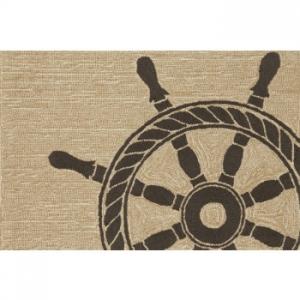 Ship Wheel Black Indoor Outdoor Rug