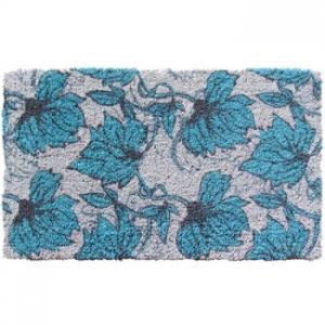Aqua Blossoms Coconut Fiber Doormat