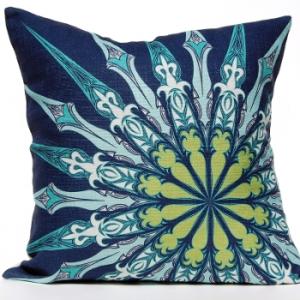 Ornate Compass Pillow - Navy
