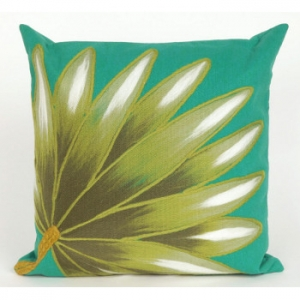 Palm Fan Teal Indoor Outdoor Pillow