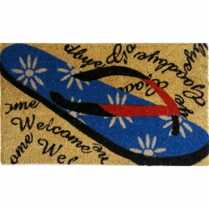 Welcome Flip Flop Vinyl Back Doormat