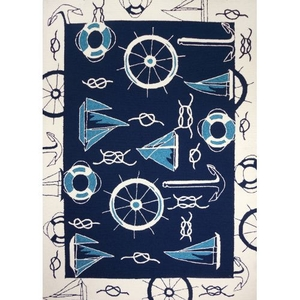 Blue and White Nautical Indoor Outdoor Area Rug, 5 x 7 ft.