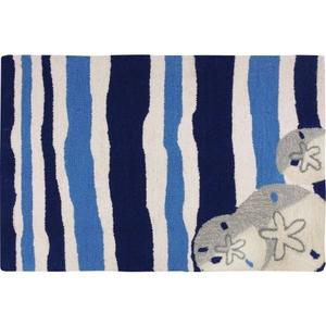 Sand Dollar On Blue Stripes Indoor Outdoor Rug, 22 x 34 in.