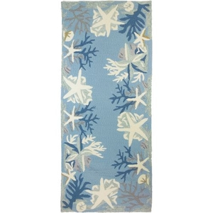 White Coral Reef Indoor Outdoor Rug, 26X60 inches