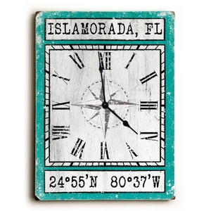 Custom Coordinates Wood Clock - Aqua