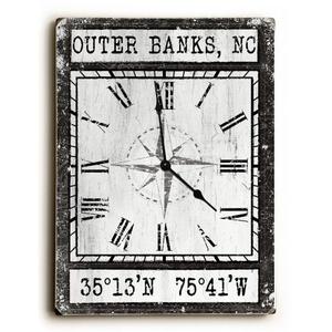 Custom Coordinates Wood Clock - Black Vintage Chart