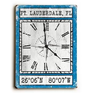 Custom Coordinates Wood Clock - Blue