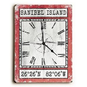 Custom Coordinates Wood Clock - Coral