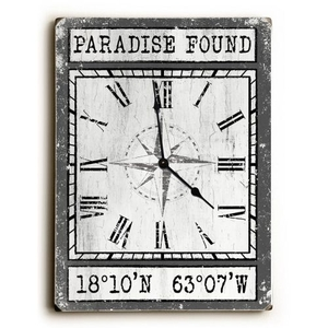 Custom Coordinates Wood Clock - Gray