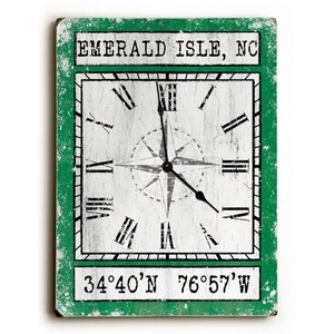 Custom Coordinates Wood Clock - Green