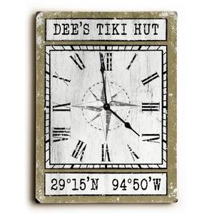 Custom Coordinates Wood Clock - Khaki