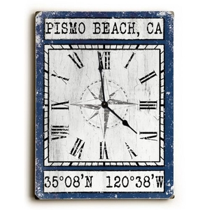 Custom Coordinates Wood Clock - Navy