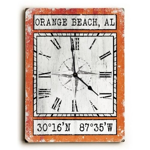 Custom Coordinates Wood Clock - Orange