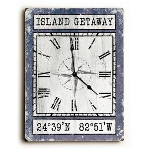 Custom Coordinates Wood Clock - Purple