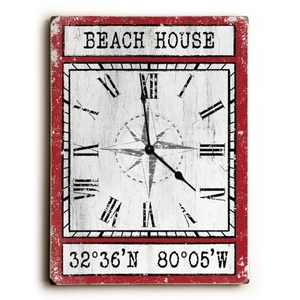 Custom Coordinates Wood Clock - Red