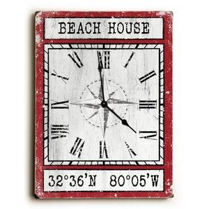 Custom Coordinates Wood Clock - Red