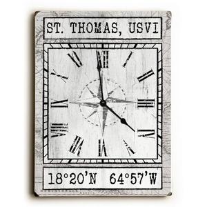 Custom Coordinates Wood Clock - White Vintage Chart