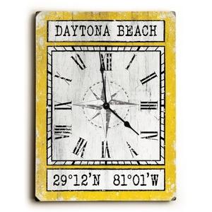 Custom Coordinates Wood Clock - Yellow