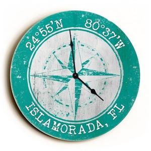 Custom Coordinates Compass Rose Clock - Round Aqua