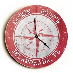 Custom Coordinates Compass Rose Clock - Round Coral