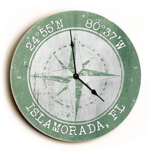 Custom Coordinates Compass Rose Clock - Round Nile Green