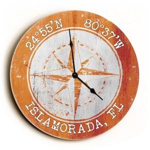 Custom Coordinates Compass Rose Clock - Round Orange