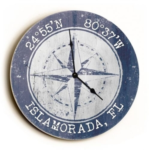 Custom Coordinates Compass Rose Clock - Round Purple
