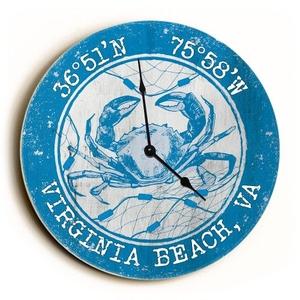 Custom Coordinates Crab Clock - Round Blue